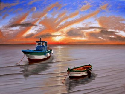 Barche al tramonto in Sicilia